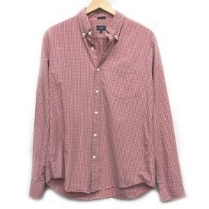 J Crew Pink Plaid Button Down Shirt Slim F…
